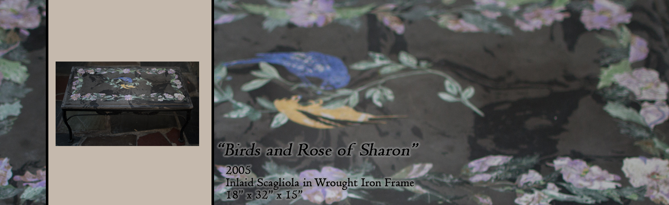 Scagliola Table: Birds and Rose of Sharon