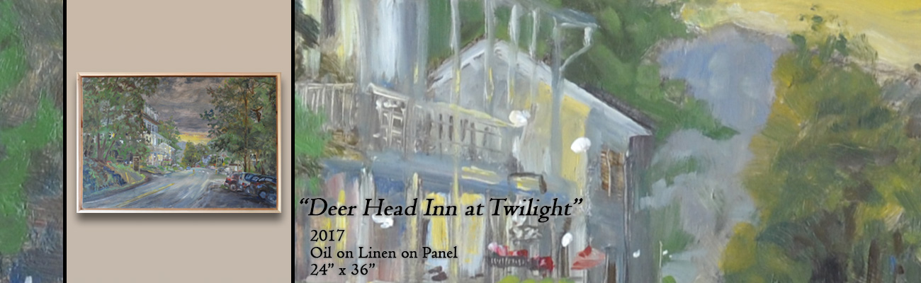 Oil Painting, Deer Head Inn at Twilight