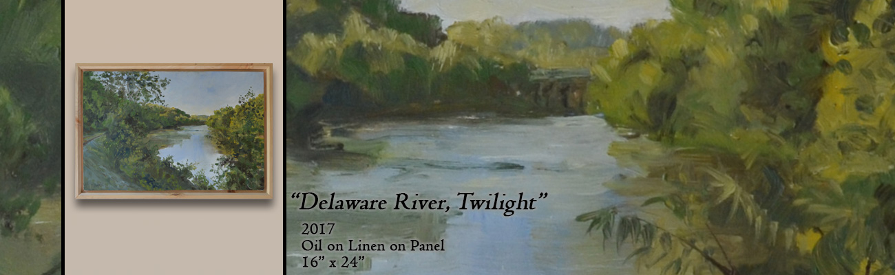 Oil Painting, Delaware River, Twilight