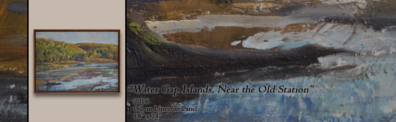Oil Painting, Water Gap Islands Near the Old Station