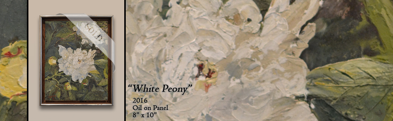 Oil Painting: White Peony